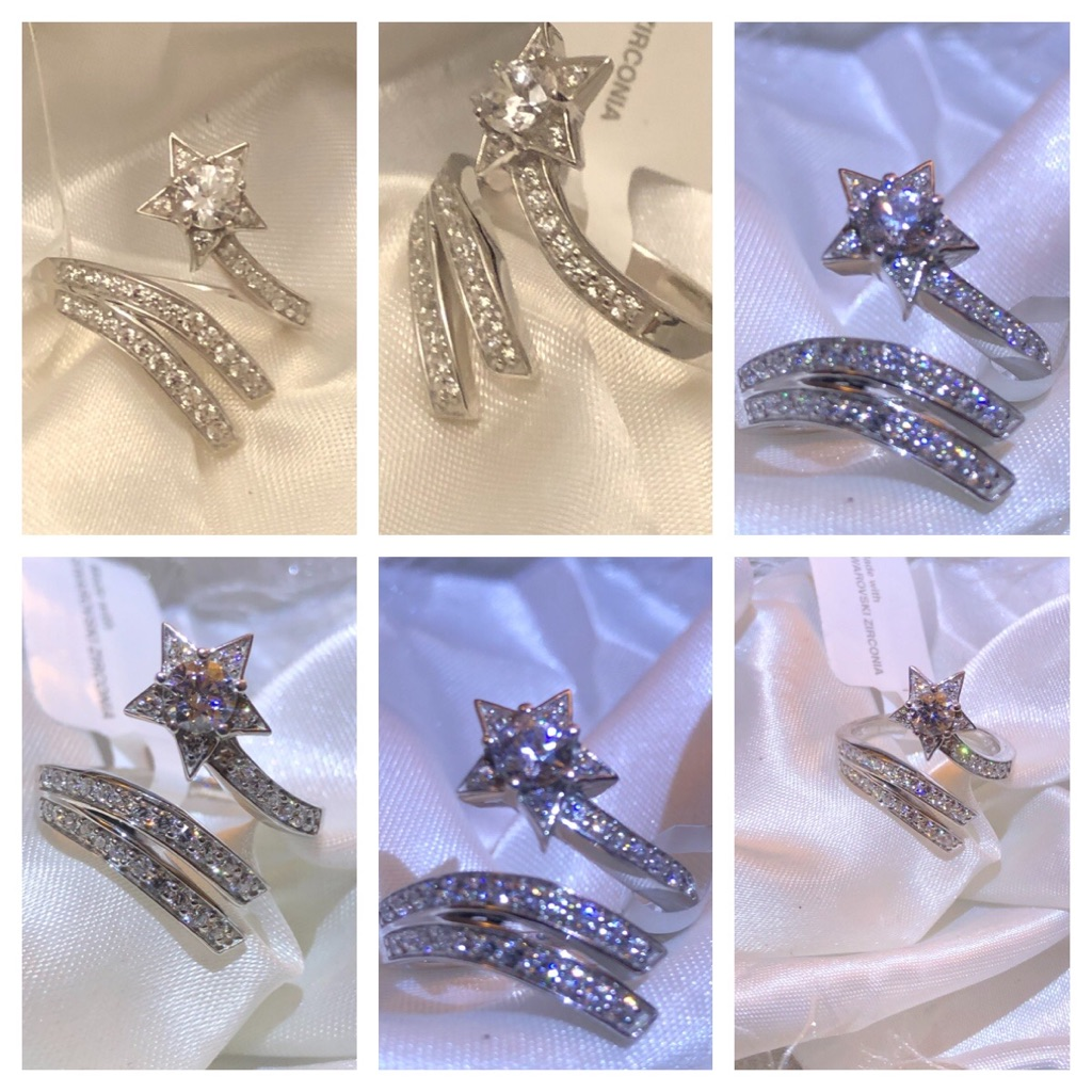 Sterling Silver 925 Shooting Star Ring SIZE M N Q Made with SWAROVSKI ZIRCONIA 1.48 Ct. NEW  Number of Gemstones 36 Total Gem Weight 6.220ct. Metal Name 925S White Silver Metal Weight 4.000 Metal Karatage 925S Metal TypeSilver Main Stone Name swarovski zirconia