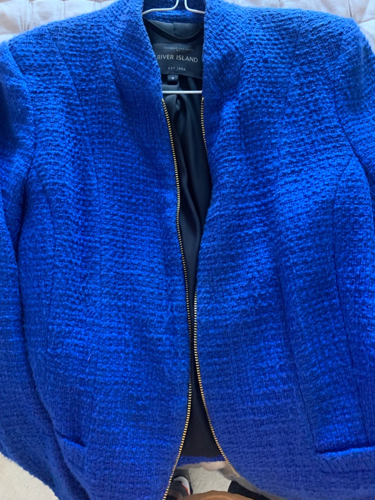 Blue tweed style blazer