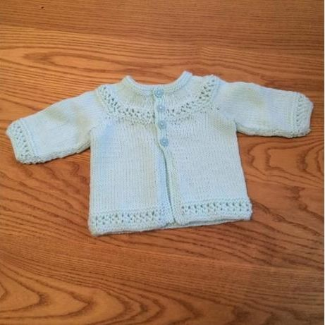 Handmade knitted baby cardigan-pastel green