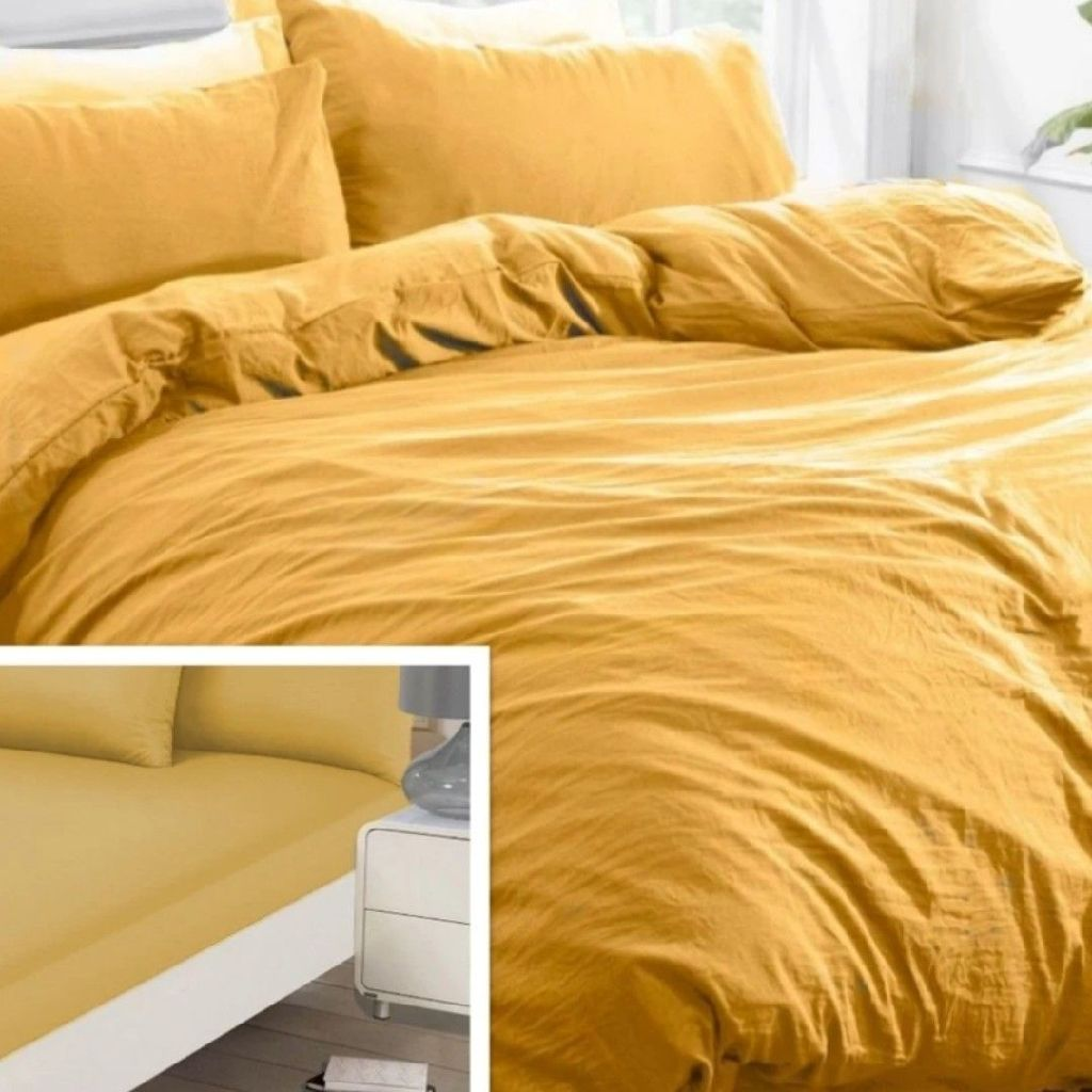 SINGLE BRENTFORDS WASHED LINEN DUVET COVER & FITTED SHEET SET - OCHRE YELLOW