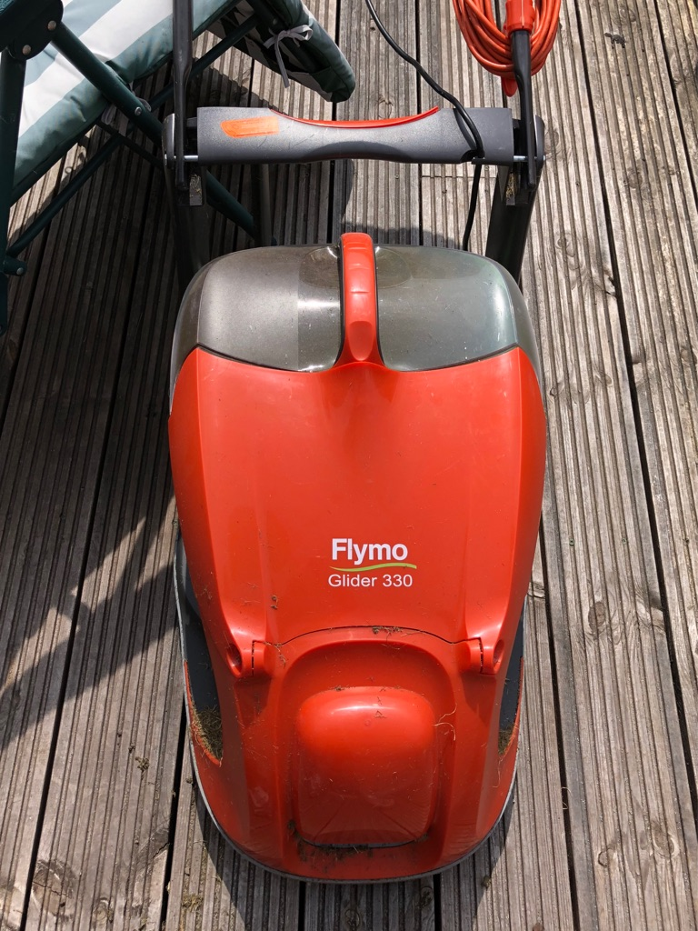 Flymo Glider 330 Mower and Bosch Easytrim Strimmer