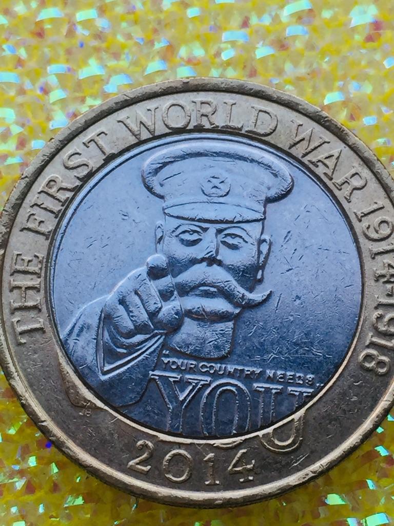 2 pound coin the First World War 1 lord kitchener 2014.
