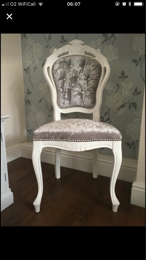 Crushed velvet French Louis chair