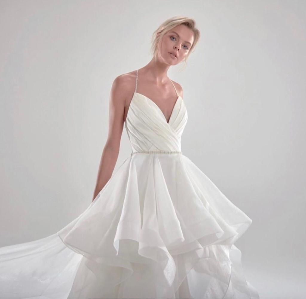 Nicole sposa tulle and satin ruffle dress