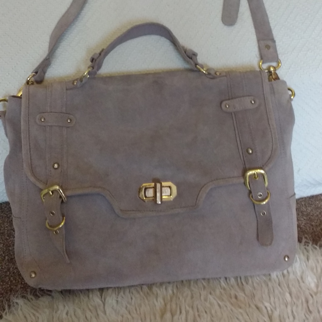 Fawn suede bag River Island