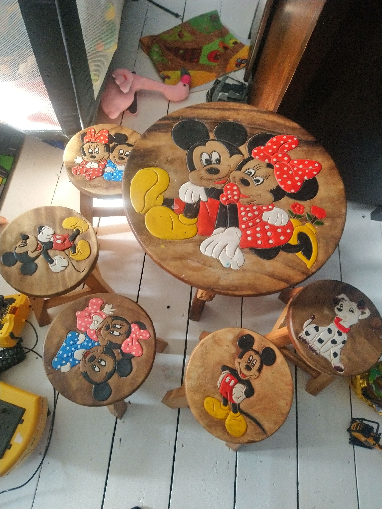 Childrens micky mouse solid oak table and five stools