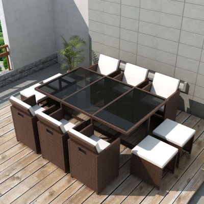 11 PIECE OUTDOOR DINING SET WITH CUSHIONS ⭐️
