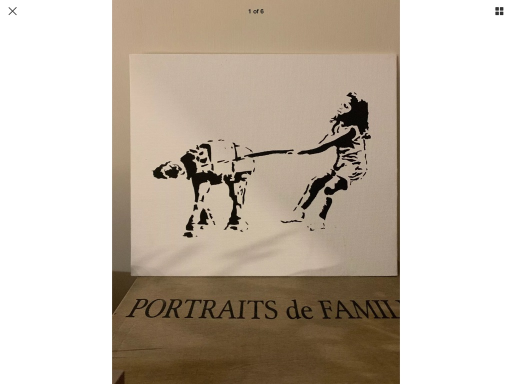 Banksy style art boarded canvas painting 10i 12in