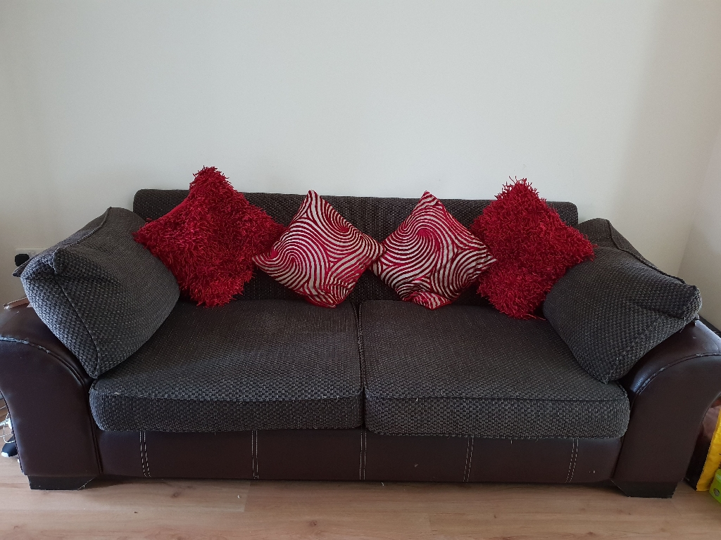 Large brown couch, large brown chair
