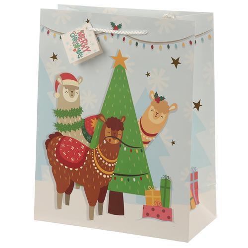 Christmas festive friends animal design large gift bag