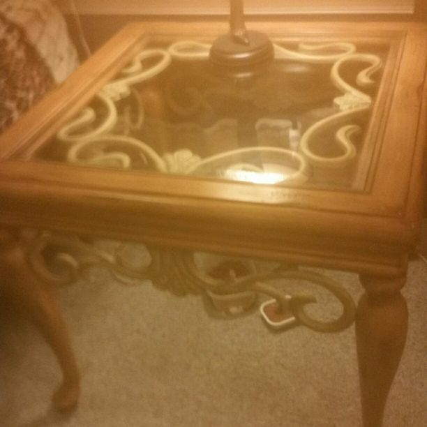Wood glass and metal end table