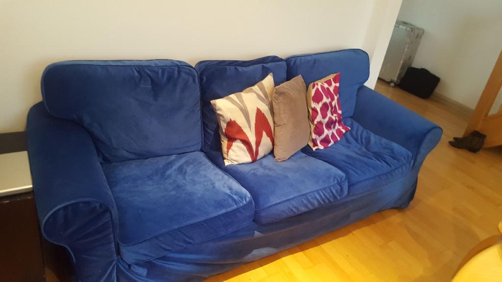 3 seater blue velvet couch