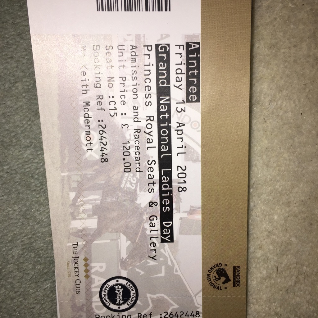 1 x Ladies Day Aintree Ticket for Aintree on Friday 13/4/18 in Princess Royal Stand) c15