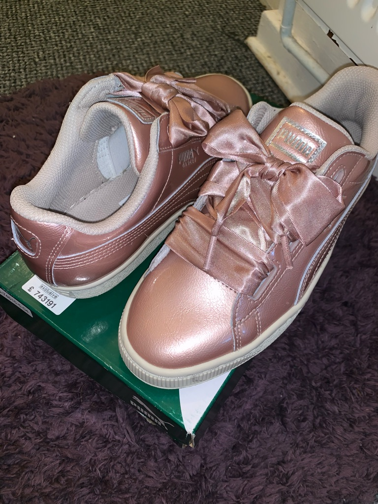 Puma basket heart trainers rose gold