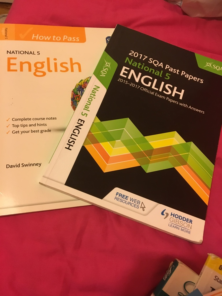 English N5 book and past papers 2017