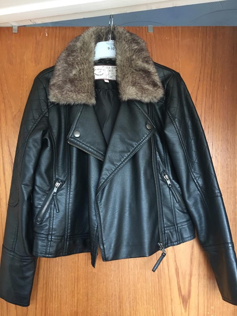Girl's mock leather jacket