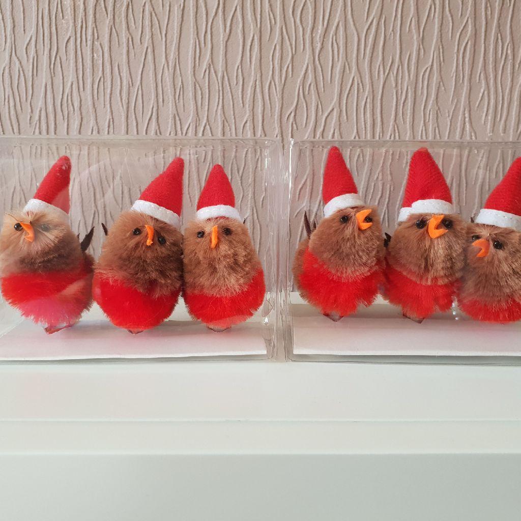 Waitrose Christmas Mini Robins Decorations 3s