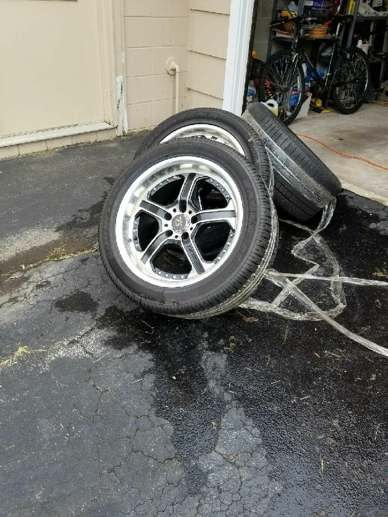 For sale: 4 Goodyear Eagle F1 P255/45Z/R18, one tire brand new other 3 fair-good on Lorenzo Custom 18' wheels