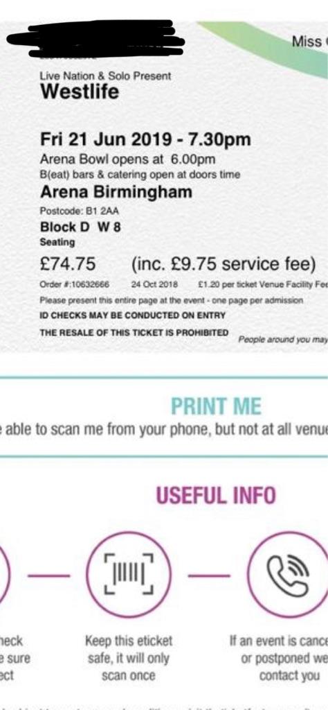 2 x Westlife Tickets