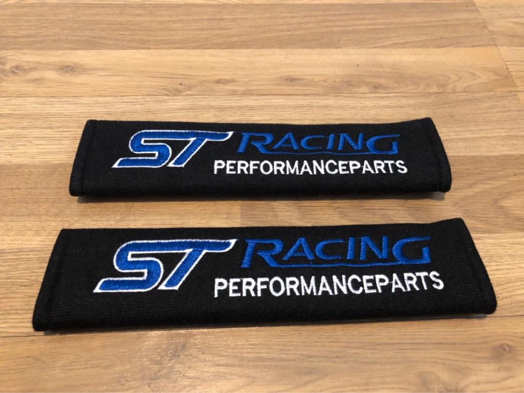 2X Seat Belt Pads Gift Ford ST Racing Fiesta Focus Ralli Tuning Sport BHP Turbo Performance