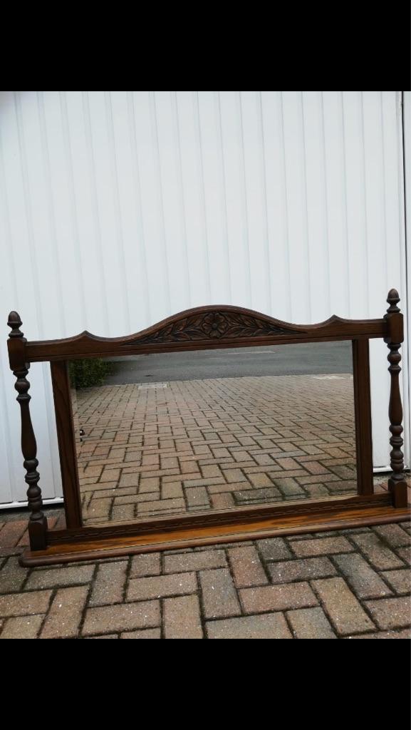 Old charm solid oak pillar mirror