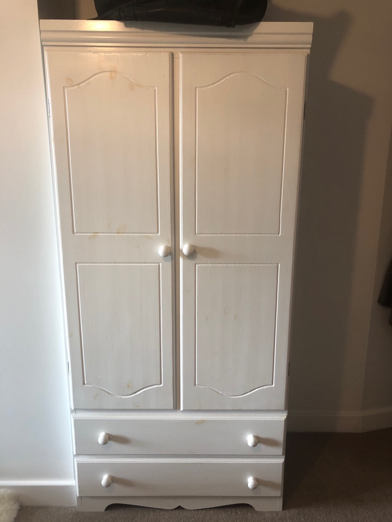 Two door and two drawer wardrobe white