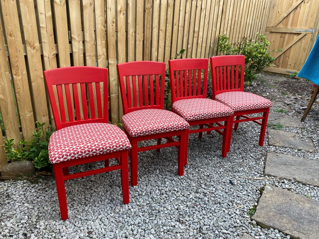 Upcycled red chairs £45 each