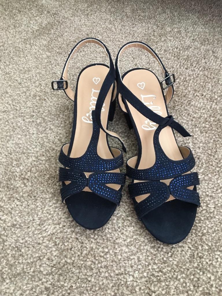 Blue diamanté lilley heels size 4