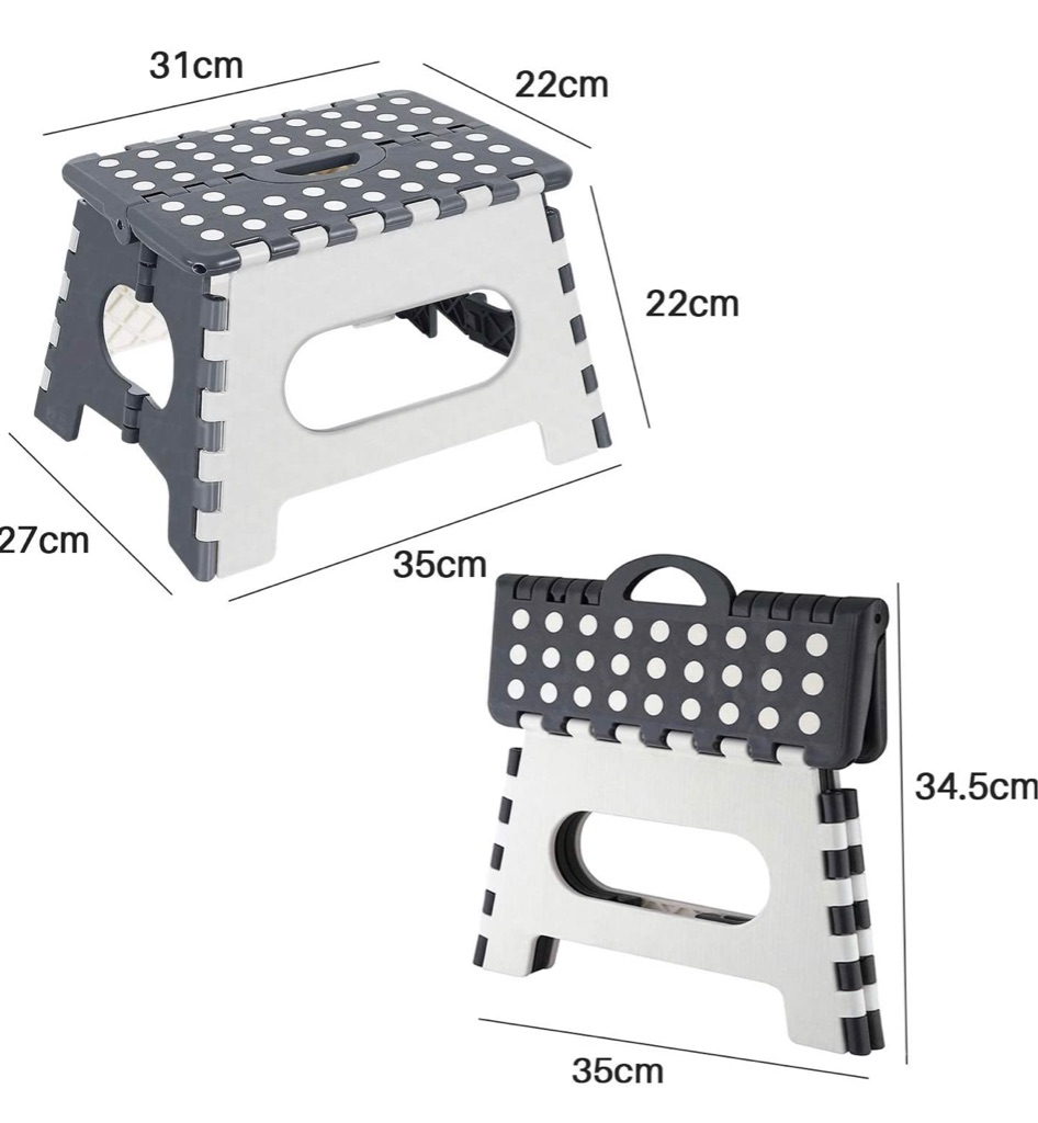 Folding Step Stool: Kids Adults 9 inch Plastic Foldable Stepping Stool