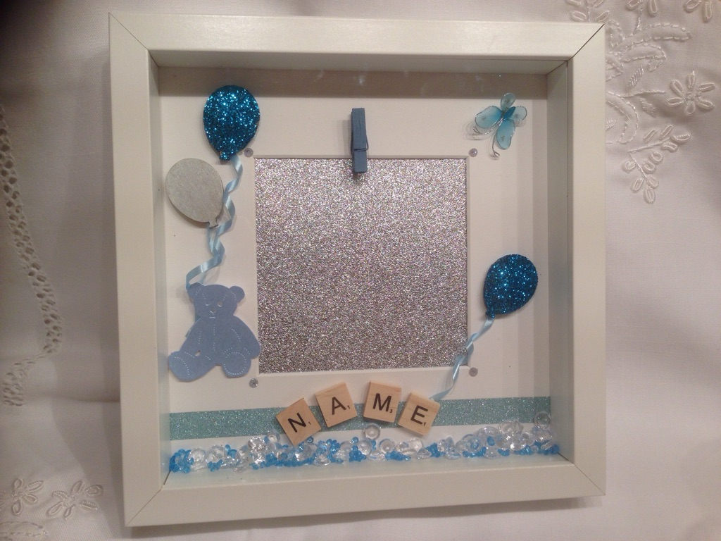 Personalised new baby boy photo box frame