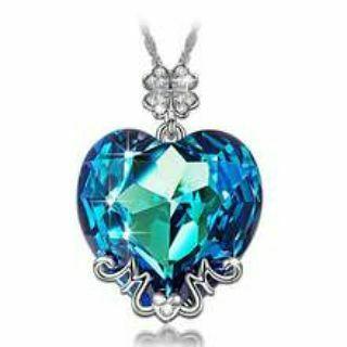 Austrian Crystal Bermuda Blue MOM Pave Lucky Clover Necklace