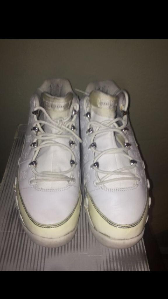 All white Jordan 9