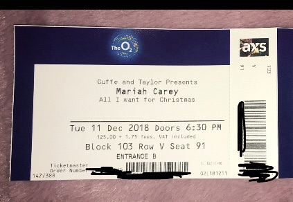 Mariah Carey tickets x 2 - Tue 11 Dec, o2 Arena London