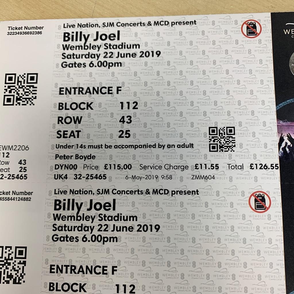 Billy Joel x 2 tickets 22nd June Wembley