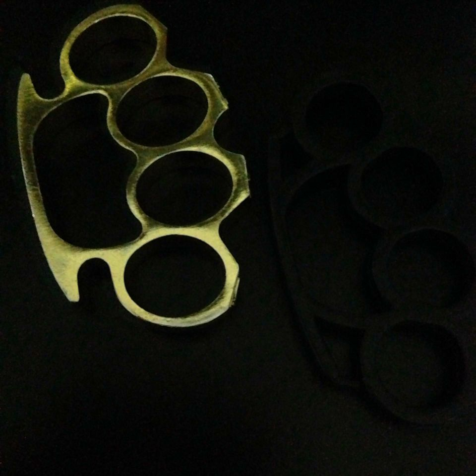 Brass and hard plastic knuckles