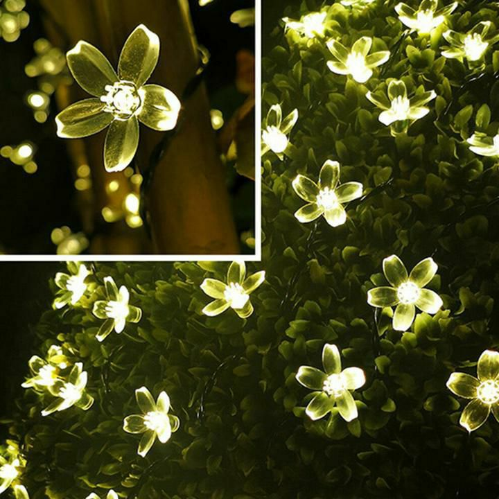 💥50 LED Solar Power Flower Fairy Garden Lights String Outdoor- Warm White 💥£12.99 🚛free postage.