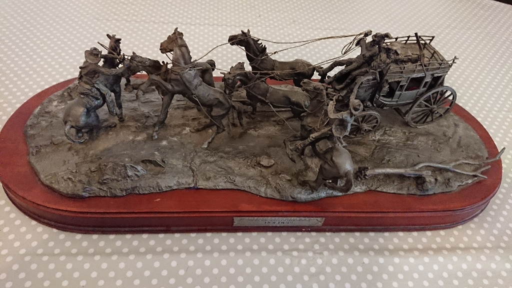 "Franklin Mint ""Hold Up"" Limited Edition Pewter Western Sculpture"