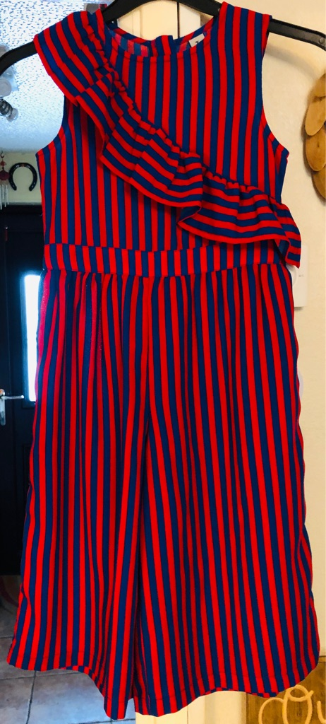 Immaculate Girls 7 Years TU Kids Party Striped Jumpsuit