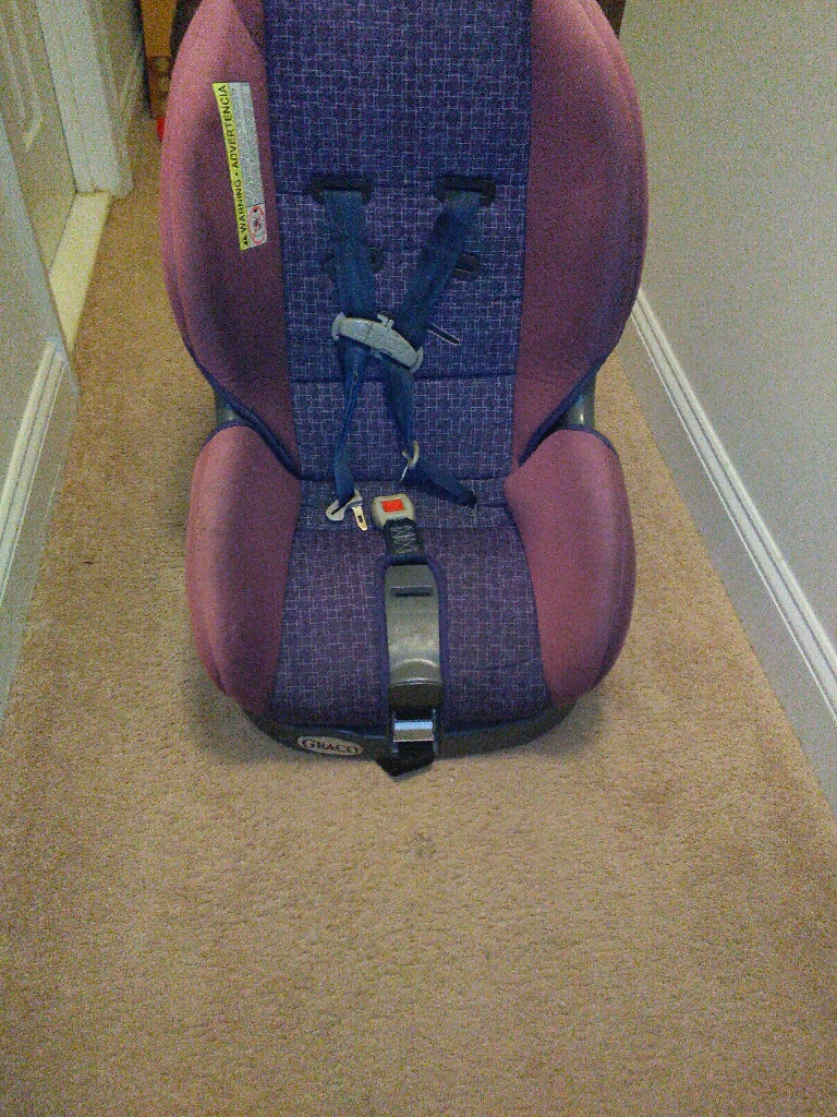 purple and pink Graco Carseat
