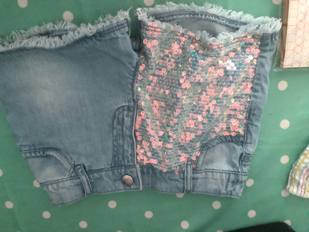 Denim and glitter shorts