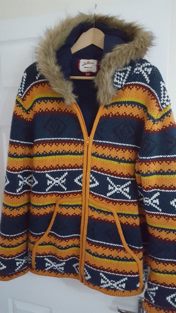 Joe Browns Chunky Knit Jacket. Lined with Fur Hood Size L