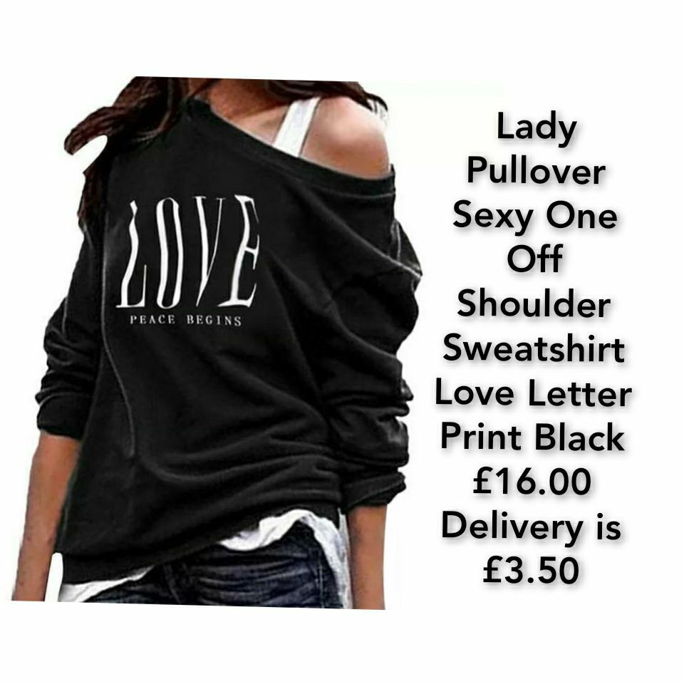 Lady Pullover Sexy One Off Shoulder Sweatshirt Love Letter Print Black
