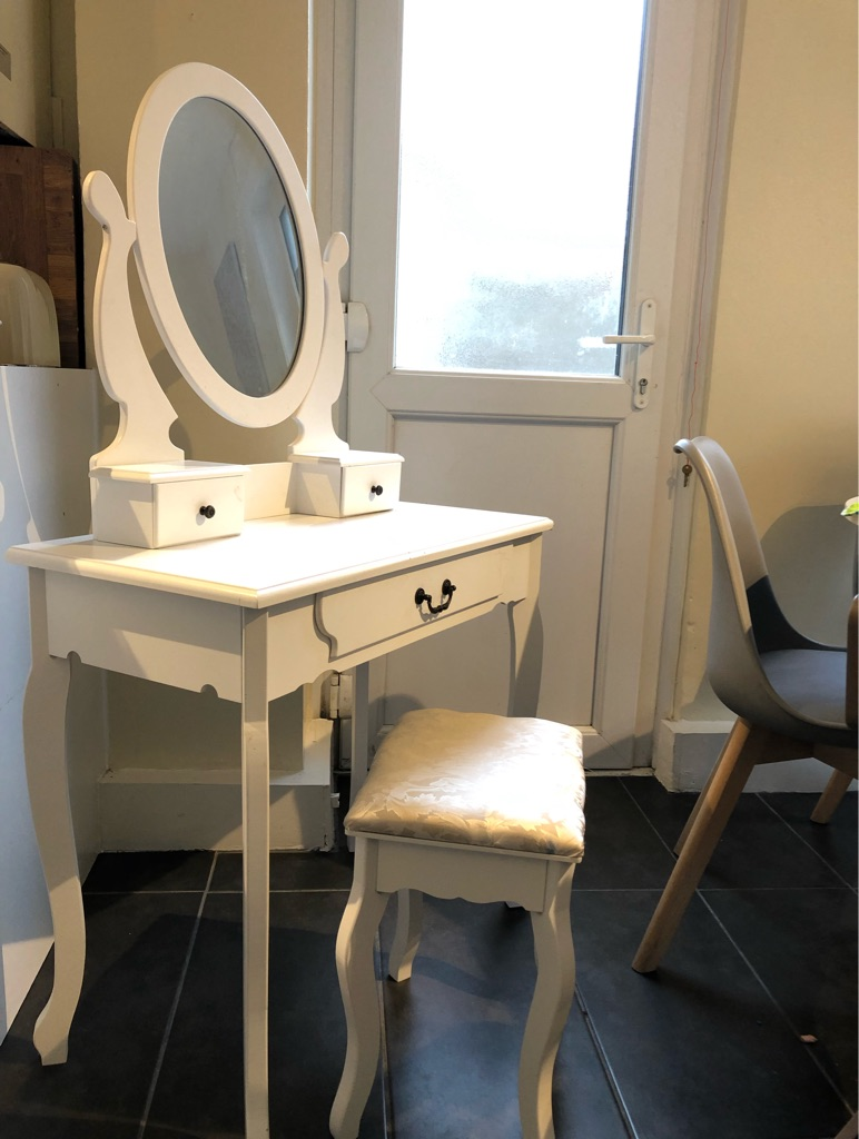 White Shabby Chic Dressing Table with Padded Stool,