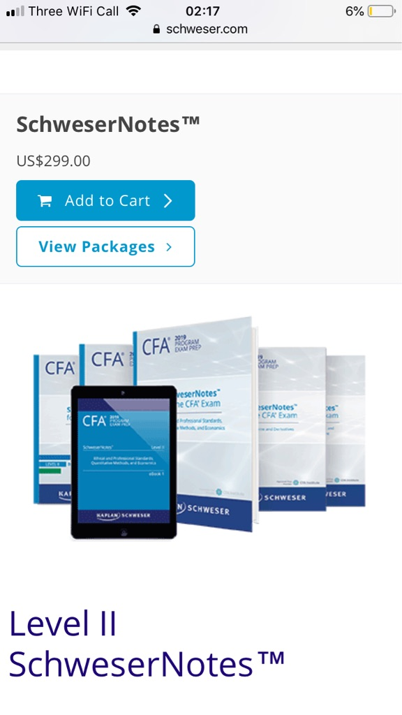 CFA Schweser Ebooks, Qbank, Quicksheet