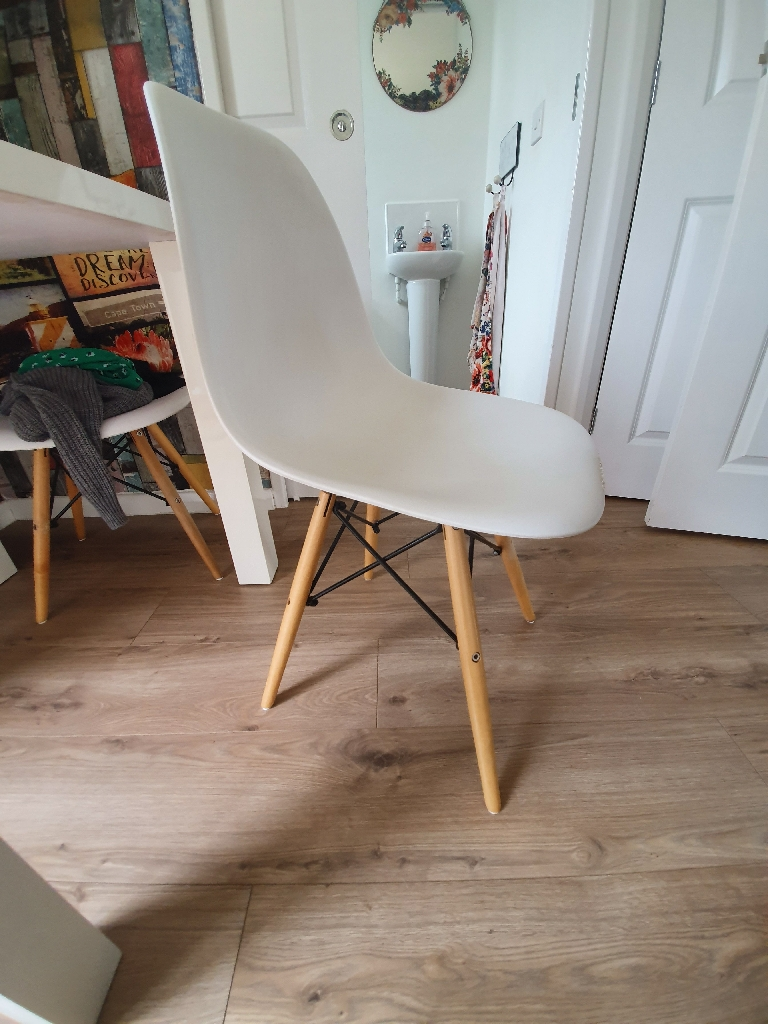 2 x white Hygena chairs