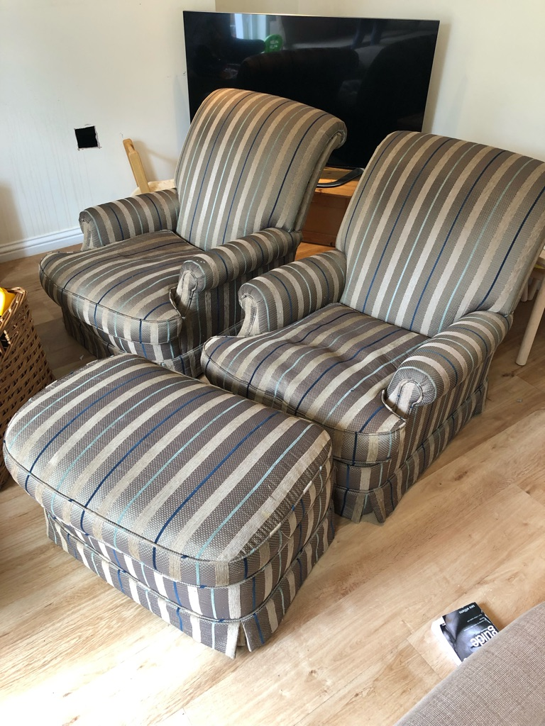 Free! 2 matching arm chairs and 1 foot stool