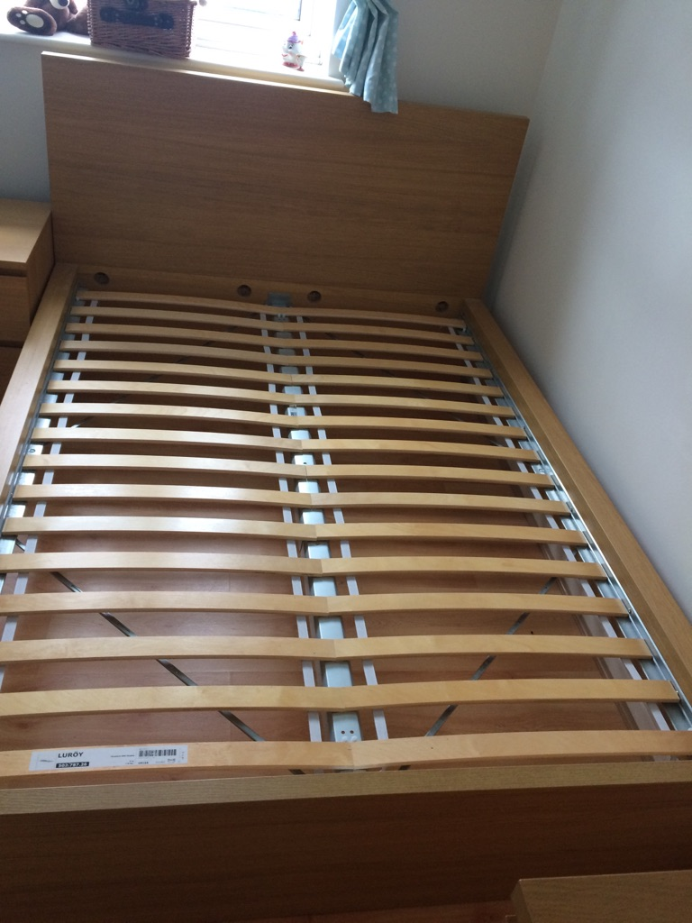 Ikea Malm double bed and bedside table