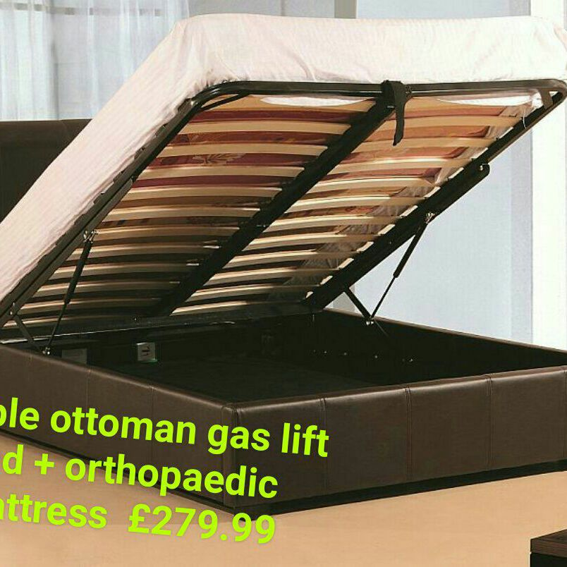 Double ottoman gas lift bed