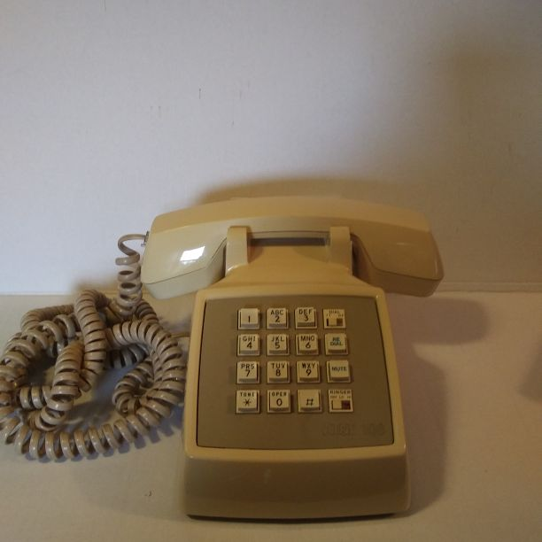 AT&T Desk Phone With Push Buttons, Beige