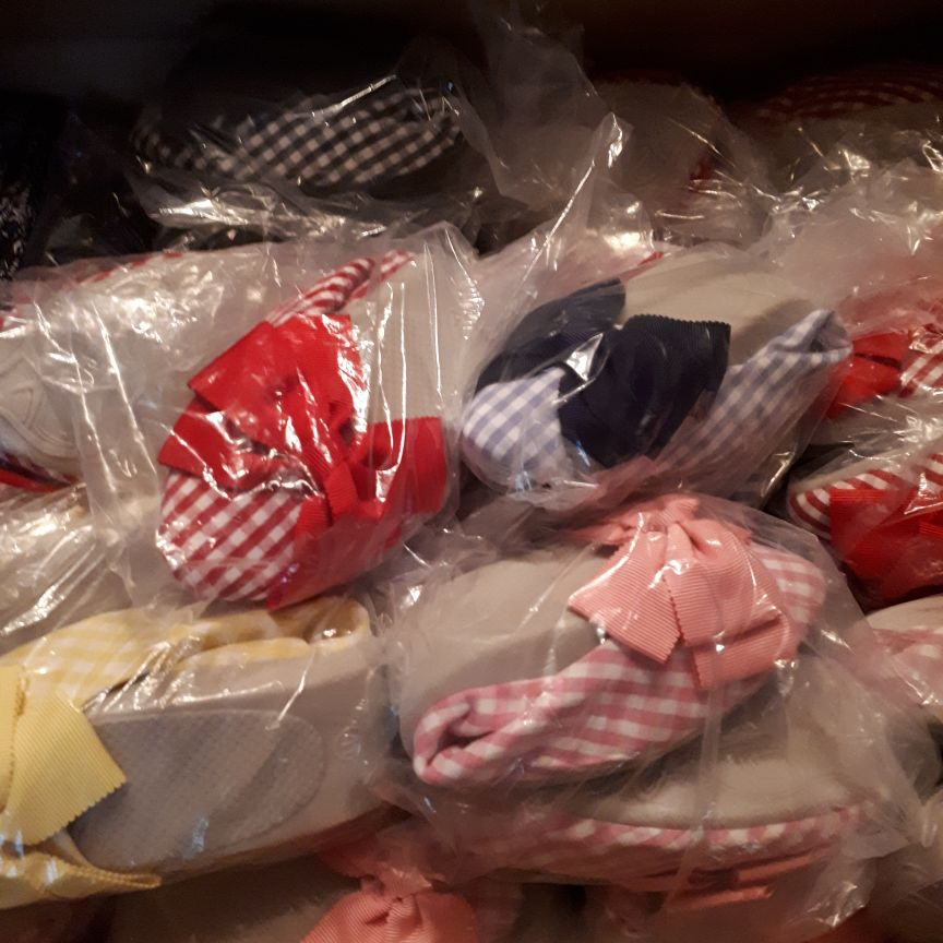Reduced  50 pairs of gorgeous gingham fold up shoes